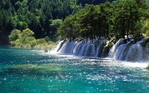 Wallpaper Sunny, China, Jiuzhaigou National Park, waterfall, trees, river