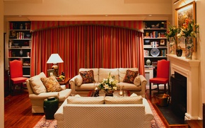 Picture flowers, room, furniture, picture, fireplace, curtains, table, sofas, vases, books.