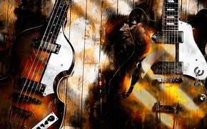 Picture guitar, art, Paul McCartney, Legendary Duo