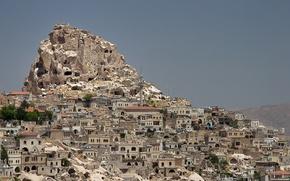 Picture rock, mountain, home, Turkey, Cappadocia, Uchisar