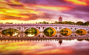 Picture sunset, bridge, lake, reflection, Singapore, pond, Singapore, Chinese Garden, Chinese garden