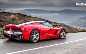 Picture Top Gear, Ferrari, Red, Landscape, Rain, Supercar, LaFerrari, Rear