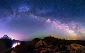 Picture mountains, lights, lights, rocks, The Milky Way, mountain, rocks, Milky Way