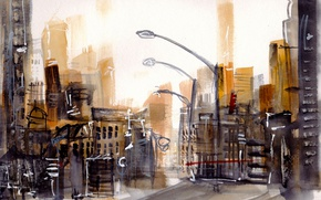 Picture the city, street, watercolor