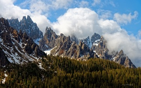 Picture forest, the sky, clouds, mountains, rocks, spring, Italy, peaks, The Dolomites