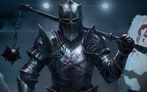 Picture weapons, knight, art, warrior, chain, blood, male, armor