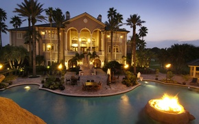 Picture lights, palm trees, Villa, the evening, pool
