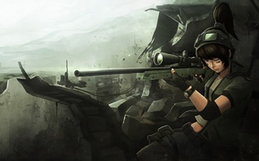 Picture girl, soldiers, ruins, sniper, art