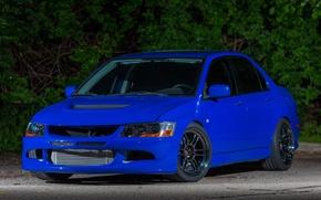 Picture Mitsubishi, Lancer, Evolution, Blue, Night