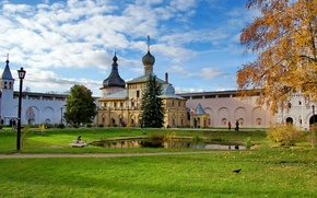Picture grass, the city, pond, photo, Cathedral, temple, Russia, the monastery, Rostov, The Great Kremlin