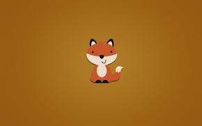 Wallpaper minimalism, animal, Fox, orange background, smile, tail, sitting, fox, Fox