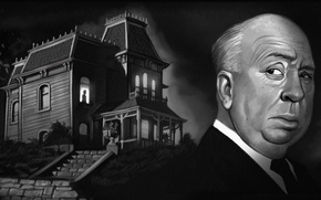 Picture night, house, window, art, psycho, Alfred Hitchcock, Hitchcock