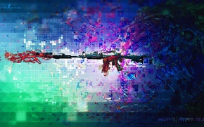 Picture monster, pixels, abstraction, counter strike, rifle, global offensive, csgo, cs go, m4a1-s, hyperbeast