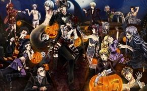Picture night, holiday, the moon, skull, art, pumpkin, halloween, Halloween, mummy, bandages, kuroshitsuji, dark Butler