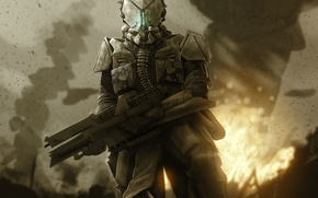 Picture the explosion, weapons, fire, warrior, art, helmet, armor