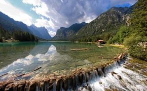 Picture forest, landscape, mountains, nature, lake, stones, photo, house
