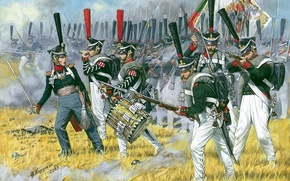 Picture irresistible in bayonet attack., Russian heavy infantry, grenadiers 1812 - 1814гг. Linear heavy infantry, not ...