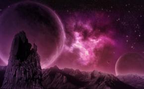 Picture mountains, nebula, rocks, planet, nebula, pink, planet