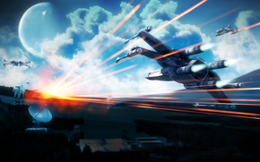Picture star wars, sky, planet, Restoril, X-wing