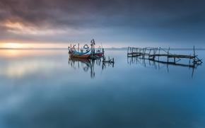 Picture ocean, portugal, pier, boat, aveiro lagoon