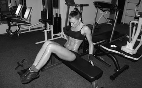 Picture pose, white, fitness, black, woman, training, workout, fitness, gym, training, abs, hard work, gym