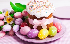Picture cake, eggs, spring, holiday, cakes, cake, glaze, tulips, tulips, Easter, eggs, Easter, blessed, decoration