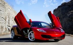 Picture red, supercar, red, supercar, sky, McLaren, mp4-12c, Mclaren