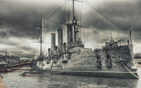 Wallpaper Pier, Figure, River, Ship, Aurora, Cruiser, Military, Armored cruiser