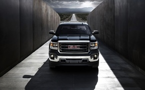 Picture Road, Black, The hood, Shadow, Lights, Pickup, GMC, The front