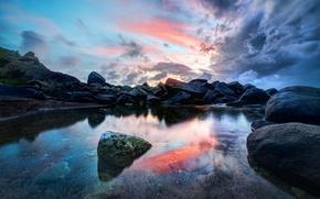 Picture sea, the sky, landscape, stones