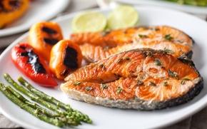 Wallpaper fish, Fish, pepper, vegetables, pepper, vegetables, Seafoods