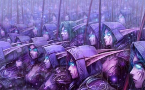 Picture wow, art, blue eyes, background, army, world of warcraft, blizzard entertainment, elves, video games, night …