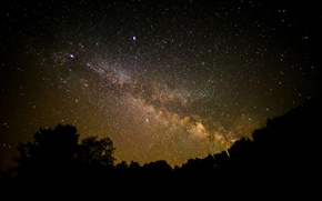 Picture space, stars, night, space, shadows, the milky way, silhouettes