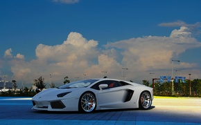 Picture white, the sky, clouds, lights, white, lamborghini, front view, aventador, Lamborghini, aventador, lp-700-4