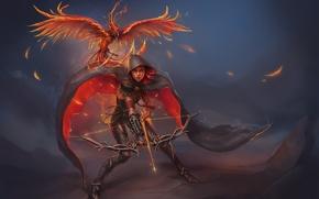 Picture girl, fire, bird, bow, arrows, Phoenix, art