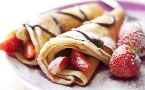 Wallpaper food, strawberry, pancakes, dessert, powdered sugar