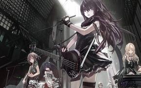 Picture music, girls, guitar, Art