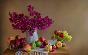 Picture flowers, fruit, still life
