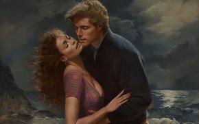 Wallpaper figure, painting, Illustrator, Ed Tadiello, romance illustration