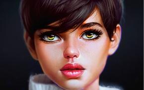 Wallpaper art, girl, green eyes, look, haircut