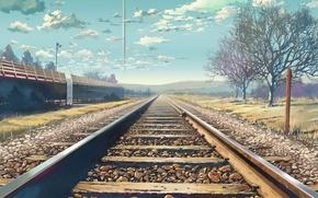 Picture landscape, rails, Makoto Xingkai