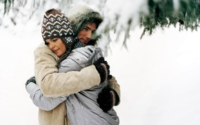 Picture winter, snow, tenderness, hugs, pair, lovers, a nice smile