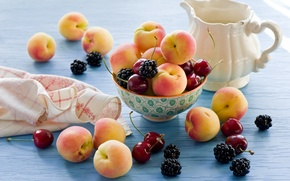Picture cherry, food, BlackBerry, cherry, apricots, blackberry, apricots, Anna Verdina