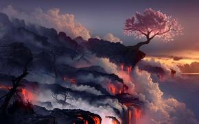 Wallpaper sea, landscape, tree, rocks, smoke, the volcano, Sakura, art, lava, arcipello