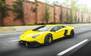Picture Road, Lamborghini, Speed, Lamborghini, Speed, Supercar, Yellow, Aventador, Road, Supercar, LP720-4, 50 Anniversario Edition