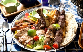 Picture meat, vegetables, kebab, cuts, bread