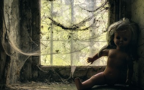 Picture web, doll, window, Puppeteer