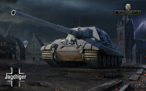 Picture Germany, art, tank, town hall, WoT, World of tanks, World of Tanks, Hunting tiger, Sky …