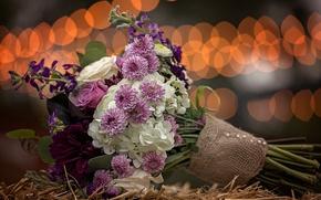 Picture bouquet, straw, bokeh, burlap, flowers