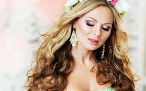 Wallpaper girl, background, hair, earrings, makeup, shadows, curls, wreath